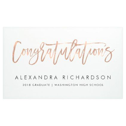 Faux Rose Gold Look Congratulations | Graduate Banner - graduation gifts giftideas idea party celebration