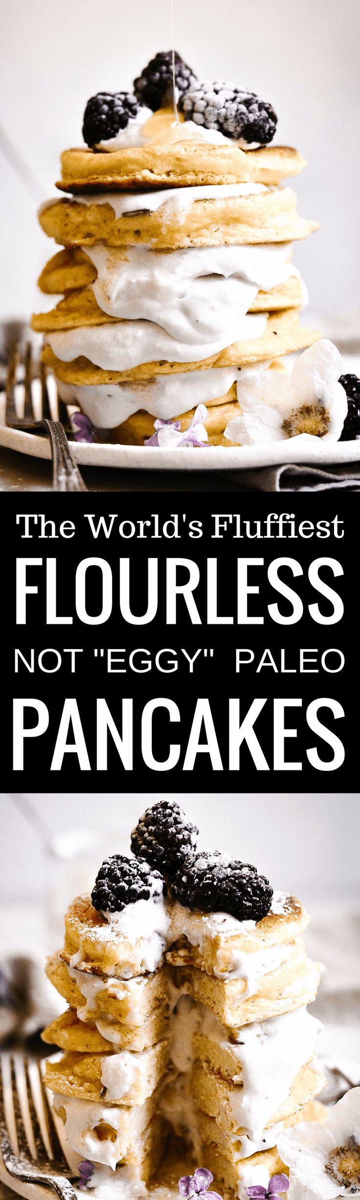 "The world's fluffiest paleo pancakes. Not ""eggy"", light, fluffy, thick, and satisfying. Tastes like legit white flour pancakes! Easy gluten free grain free"