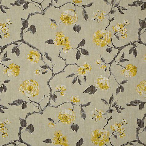 Buy John Lewis Linen Rose Fabric, Yellow Online at johnlewis.com
