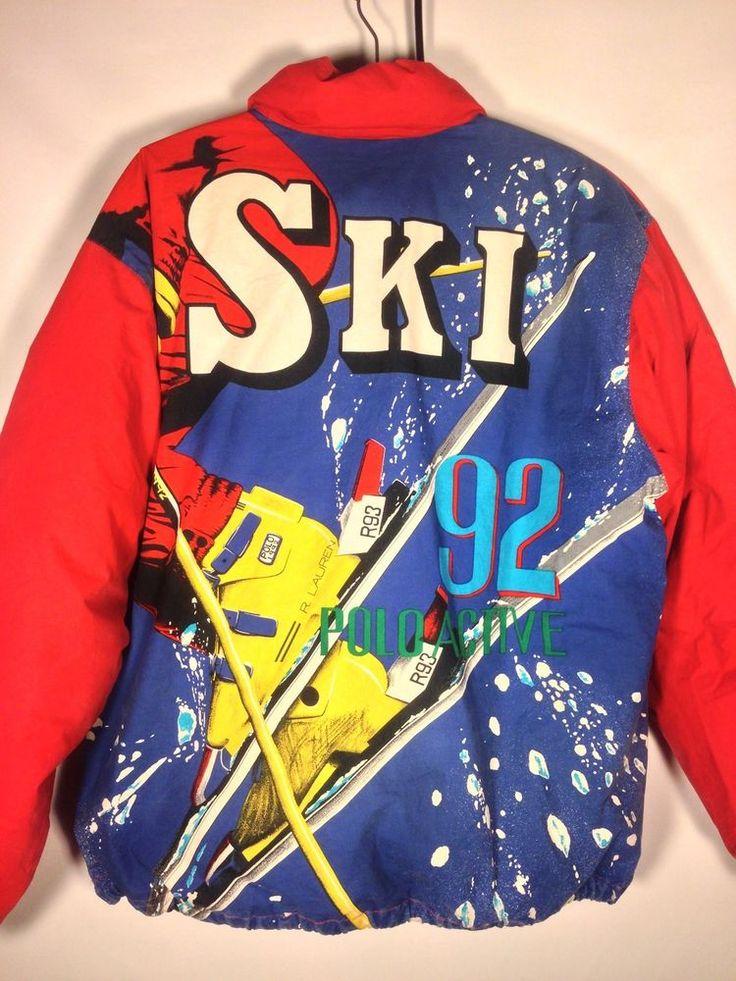 Vintage Polo Ralph Lauren S 92 Ski Goose Down Jacket P Wing Stadium Snow Beach #PoloRalphLauren #BasicCoat