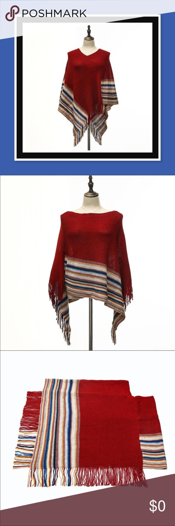 🌀 JUST IN! 🌀 Striped Poncho 🌀 This stylish red knitted poncho with tassels has colorful stripes and is versatile as it may be worn longer in the front or longer on the sides. It's made of acrylic and is approximately 80-100 cm in length depending on which way you wear it. Only 1 available! Sweaters Shrugs & Ponchos