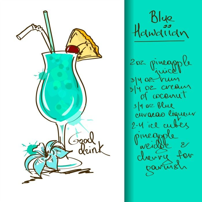 4 Amazing Summer Mixed Drinks With Cute Free Printable Recipe Cards Nerdy Mamma Hawaiian Cocktails Blue Hawaiian Drink Hawaiian Drinks