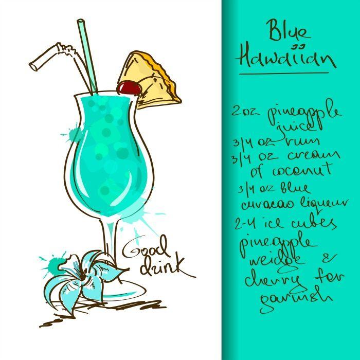 4 Amazing Summer Mixed Drinks With Cute Free Printable Recipe Cards Nerdy Mamma Hawaiian Cocktails Blue Hawaiian Drink Hawaiian Drinks