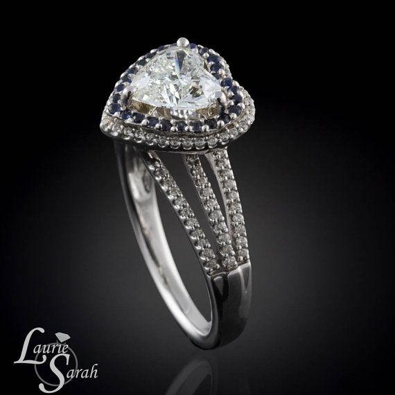 LS1618 Zeig ihr, dass sie dein Herz haben, für immer, wenn Ihnen ihr dieses Herz 1,5 Karat Diamant-Verlobungsring mit einem blauen Saphir und