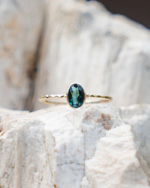 Blue Green Tourmaline Ring, Delicate Ring, Gold Engagement Ring, Wedding Gold Ring, Natural Gemstone Ring, Stacking Ring, Hammered Ring