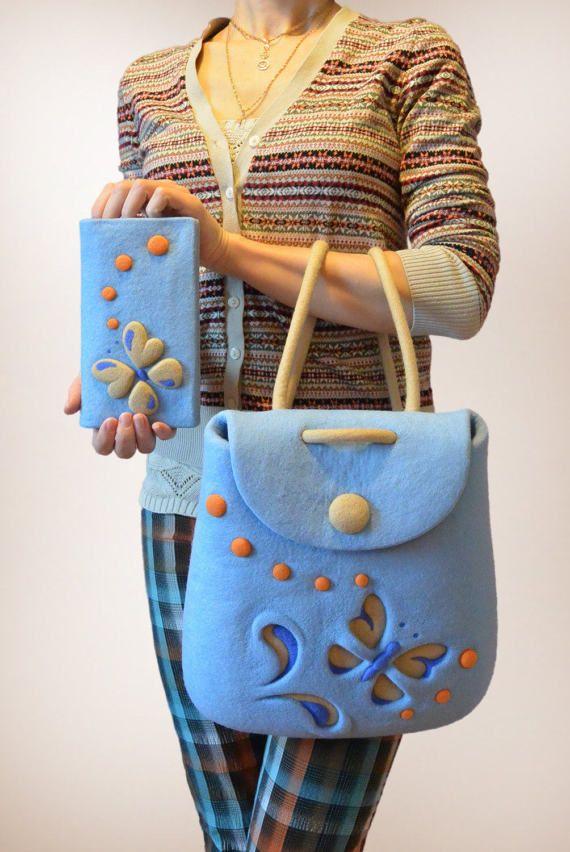 Войлочный комплект - кошелек и рюкзак из мериносовой шерсти с очаровательной бабочкой. / Felted purse with butterfly, felt backpack. Felt in fashion by #olafelt