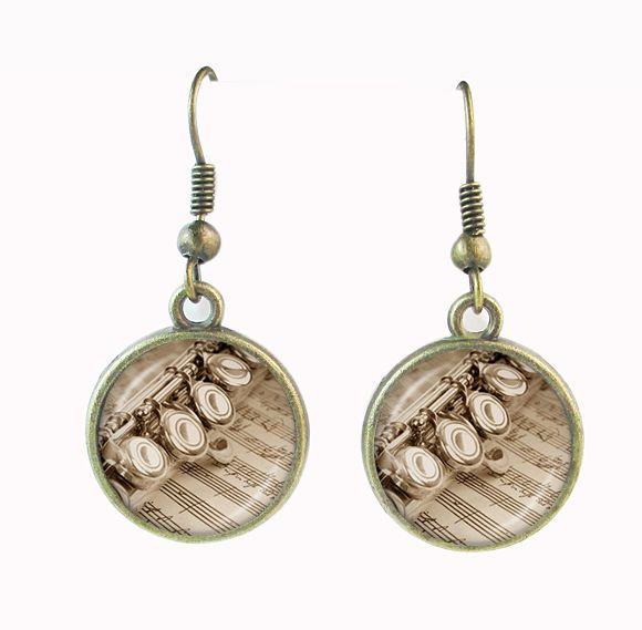 Ювелирные изделия музыка мотаться флейта падение серьги музыка искусство ювелирные изделия из стекла кабошон уха подвеска для женщин ювелирные изделия