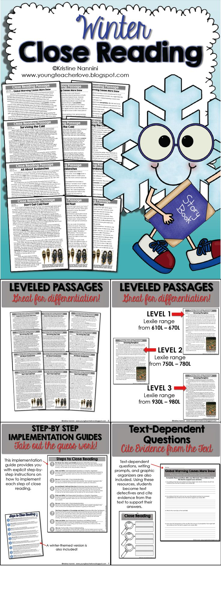 This resource contains EVERYTHING you will need to implement close reading in your classroom! Winter Close Reading Passages, Text-Dependent Questions & More! There are THREE DIFFERENT LEVELS OF EACH PASSAGE for you to easily differentiate in your classroom! There are also text-dependent questions and writing prompts for your students to cite evidence from the text, graphic organizers, step-by-step implementation guides, and more!$