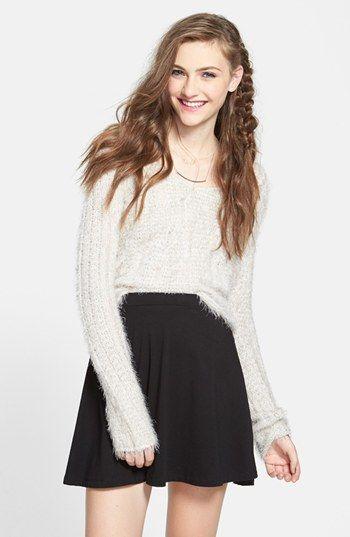 $28, Black Skater Skirt: Lily White Skater Skirt Solid Black X Small. Sold by Nordstrom. Click for more info: https://lookastic.com/women/shop_items/131934/redirect