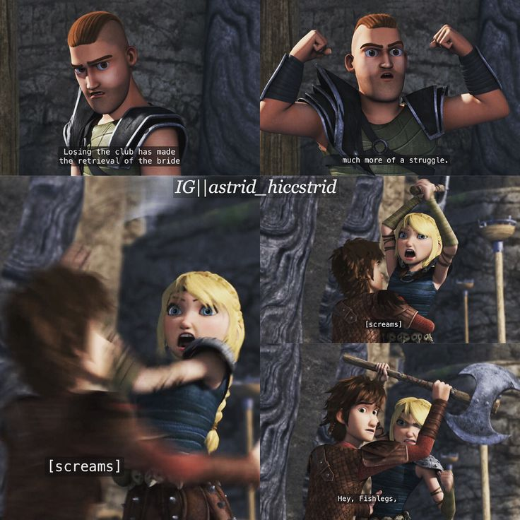 Hiccup stopping Astrid from savagely killing Throk with her axe