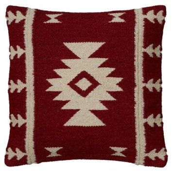 Rizzy Home T05810 Woven Southwestern Patten Decorative Pillow, 18 by 18-Inch, Red  Get some bold decorating home décor ideas by using bold red accent pillows.  You can use red solid throw pillows in combination with red patterned throw pillows.  For example, vertical, chevron and horizontal stripes compliment a solid plush red accent pillow.  Consider using these pillows in your bedroom, living rooms and other spaces with couches, beds, benches and chairs.