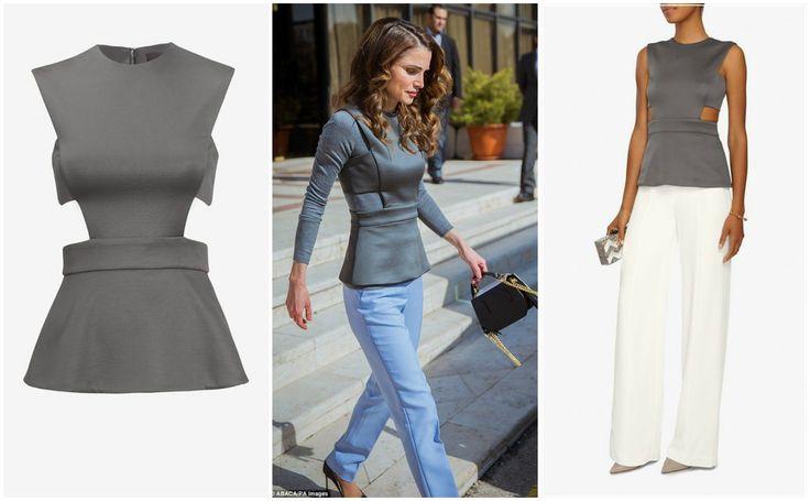 Queen Rania wearing a Cushnie et Ochs cut out top
