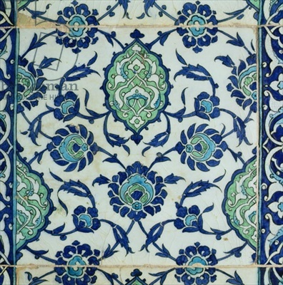Detail of a Damascus tile panel, 16th-17th century (ceramic)