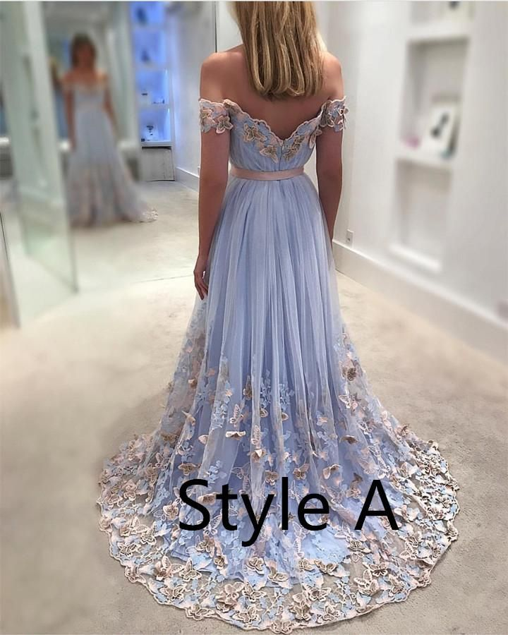 4aff9266ff16 Light Blue Tulle Off The Shoulder Evening Gowns Lace Embroidery Prom Dresses