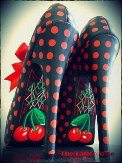 Cherry Pie by the Tattoo Shoe: Fashion, Polka Dots, Cherry Pies, Tattoo Shoes, Style, Polkadot, High Heels, Shoes Shoes, Cherries Pies