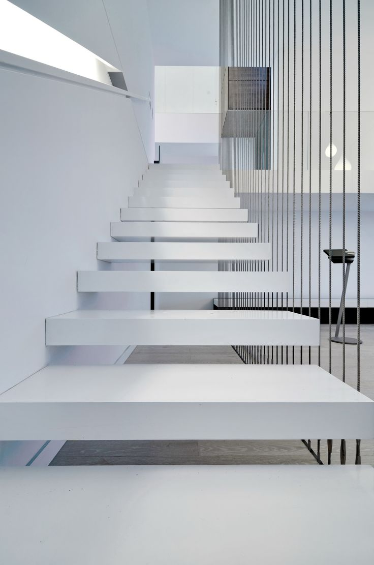 Modern Stairs // white wood stairs float at House P by group