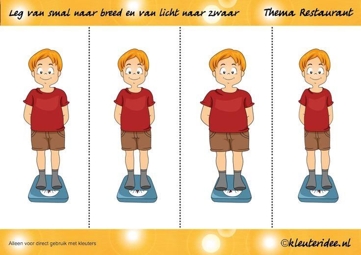 Leg van smal naar breed of van licht naar zwaar, thema restaurant, juf Petra van kleuteridee.nl, Preschool heavy light, free printable