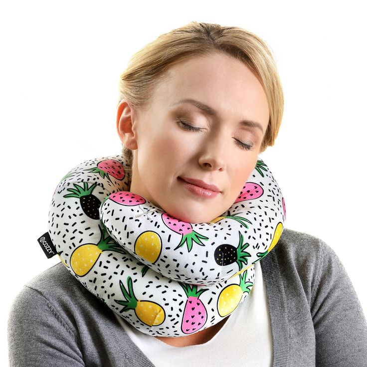 BCOZZY CHIC- Chin Supporting Travel Pillow - NEW - 2018 Collection. Supports the Head, Neck and Chin in Maximum Comfort in Any Sitting Position. A Patented Product. Adult Size, Trendy Pineapple
