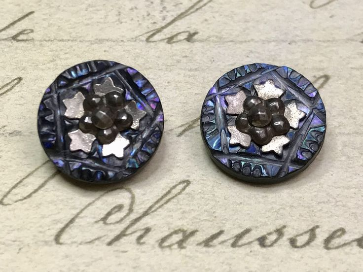 2 small Antique carved blue shell steel cut buttons 24 mm by GwensButtons on Etsy https://www.etsy.com/ca/listing/570611301/2-small-antique-carved-blue-shell-steel