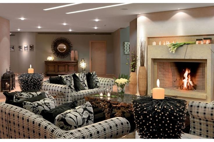 Lobby area with beautiful fire place  http://divanimeteorahotel.com/
