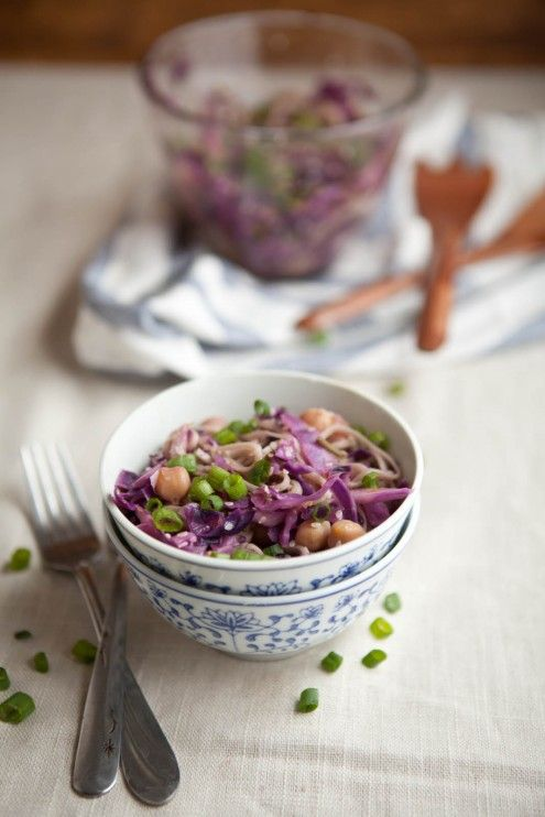 . (Cabbage, chickpeas and soba noodles tossed in an orange sesame ...