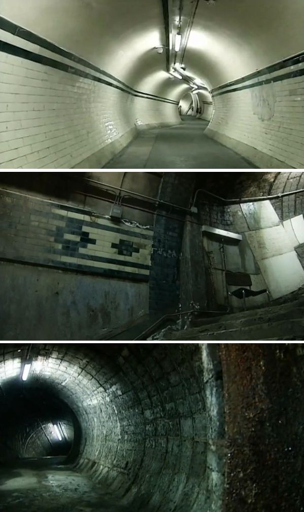 Abandoned tube station at Aldwych. Various parts of is station are maintained to a high specification as it is used for film shoots on a regular basis. Other parts (bottom image) were never finished or opened to passenger use even during Aldwych's years of operation, 1907-1994.