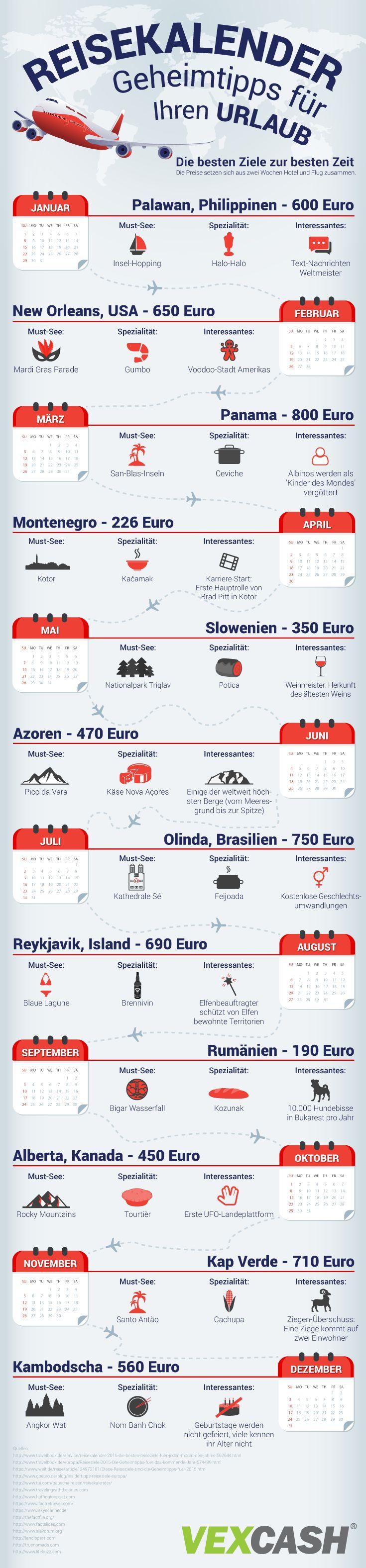 12 Geheimtipps für den Urlaub mit außergewöhnlichen Fakten, die so noch keiner kennt #travel #infografik #reise #urlaub