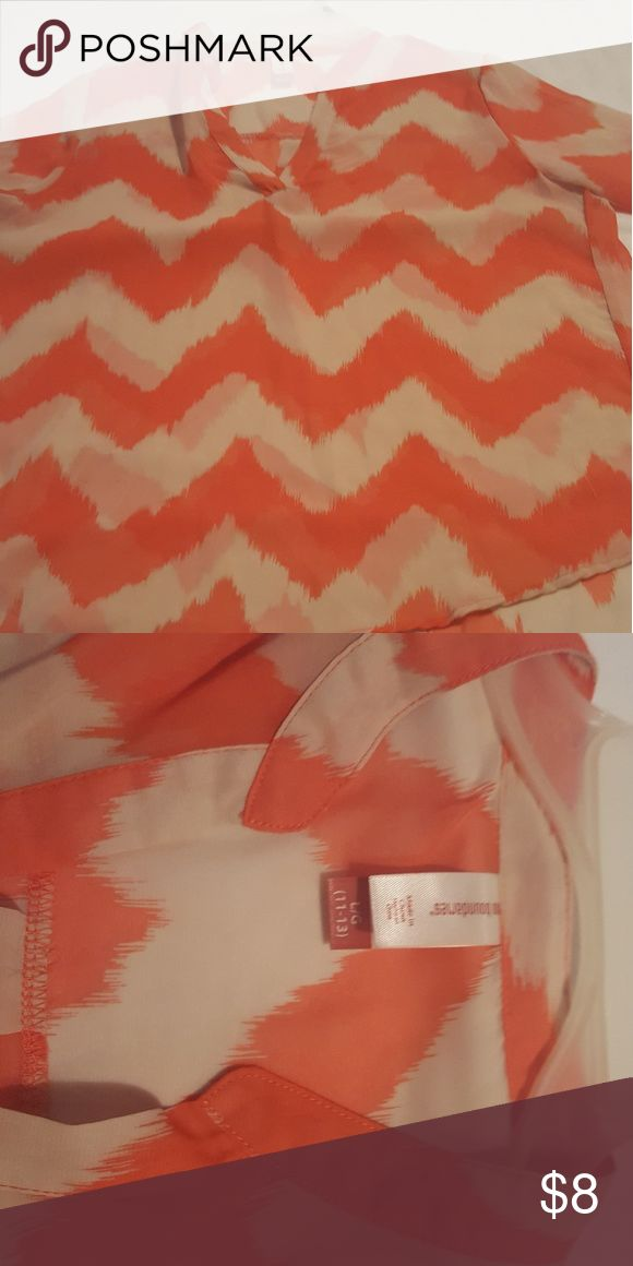 Ladies sheer chevron shirt cream and peach shirt Ladies peach and cream chevron shirt , cute over tank top   ( see through) would need tank top under ..no stains rips or holes the sleeves have a button to give a gathered look to it .. size 11/13 No Boundaries Tops Blouses