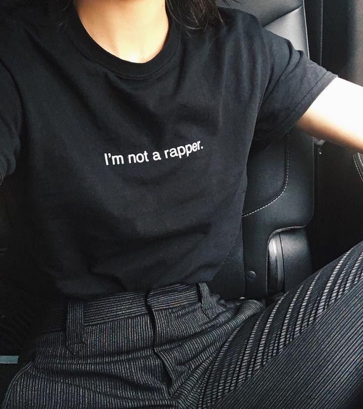 Not a rapper tee   All black   Kendal Jenner   @kendalljenner Instagram