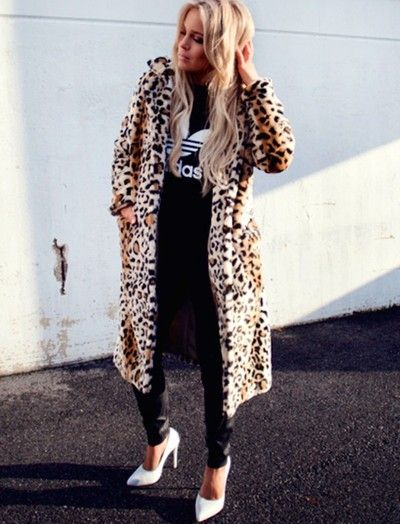 Leo coat from Romwe / T-shirt from Adidas / Leather pants from Zara / Shoes  from Jennie-Ellen
