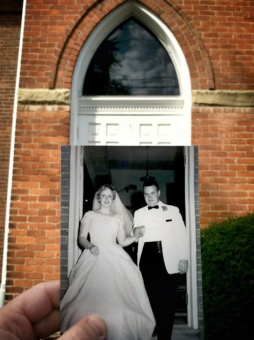 """Dear Photograph,  Fifty years ago today, my Mom and Dad walked out this door for the first time as husband and wife. Over the years they've called a few houses """"home"""", welcomed three kids and six grandchildren, worked at jobs and retired from jobs. Together they boldly faced obstacles as small as a burned kitchen floor to facing more than the heart can hold seemingly insurmountable amounts of cancer and Parkinson's disease. Through it all the one thing they have always don"""