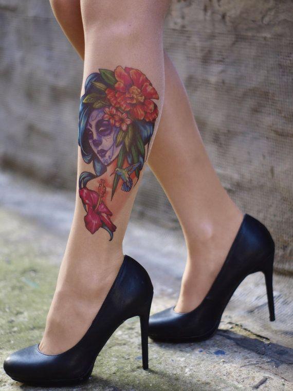 Tattoo-socks colorful Gypsy Sugar Skull by HotTattooSocks on Etsy