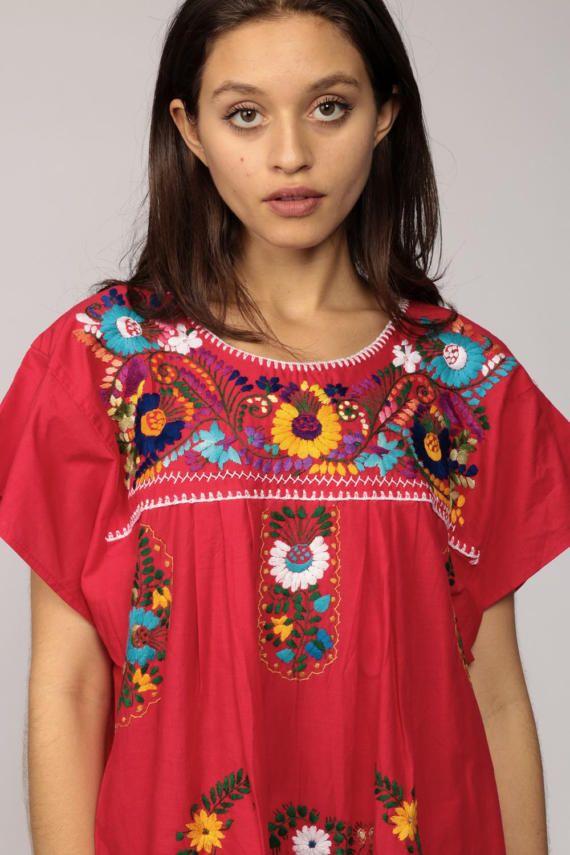 Geborduurde Mexicaanse jurk Hippie Boho Mini PEACOCK vogel