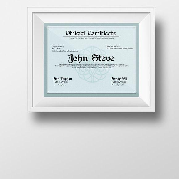 Certificate Template Certificate, Creativemarket and Template - official certificate template