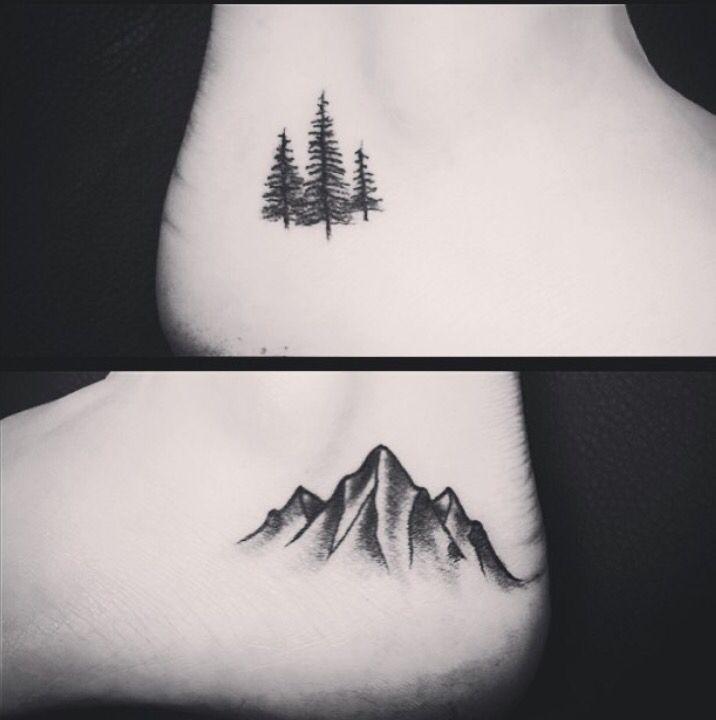 small pine tree and mountain range tattoos  #tattoo #tattoos #mountains #pinetree #tattooinspiration