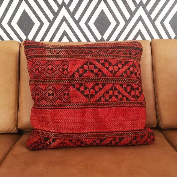 Rose Red ~ Handwoven Egyptian Cushion Cover in Muted Red with Black Accents. Available @laviebohemedecor. Free delivery within South Africa.