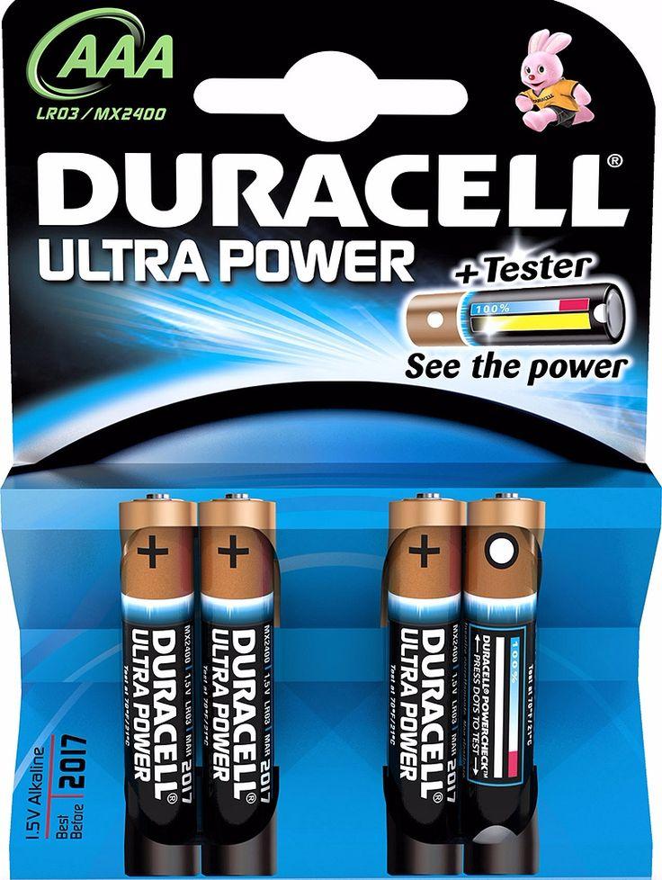 Duracell Ultra Power Batterijen - AAA 4 Stuks  Duracell Ultra Power - AAA 4 Stuks Duracell biedt betrouwbare energie voor alle elektronische apparaten die hier geschikt voor zijn. Duracell Ultra power AAA batterijen zijn alkaline batterijen die perfect te gebruiken zijn voor al uw apparaten. De batterijen bevatten een Duralock Power systeem deze technologie is gemaakt om uw batterijen tot 10 jaar lang in opslag goed te houden. Verder bevat de batterij Powercheck technologie die het mogelijk…