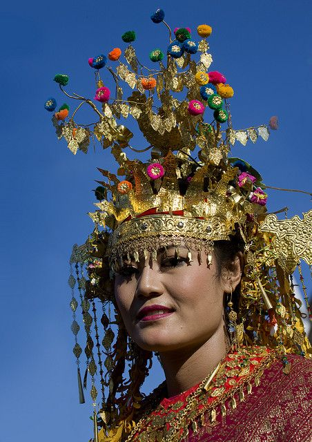 Woman with traditional wedding headdress, Java, Indonesia