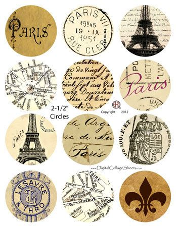 Instant Download 2.5 Inch Circles Digital Collage Sheet - Vintage French Ephemera DCS-1152 Digitalcollagesheets, Printables, Downloads on Etsy, $3.95