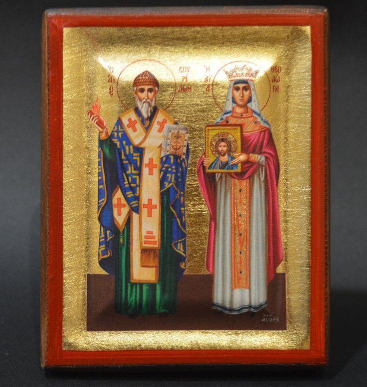 Handmade Orthodox Icon Byzantine Greek Serigraph St.Spiridon St.Theodora Avgusta