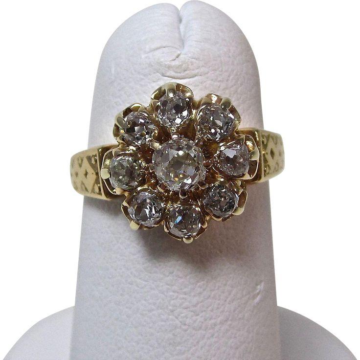 Antique Victorian Old Mine Cut Diamond Cluster Ring 14K