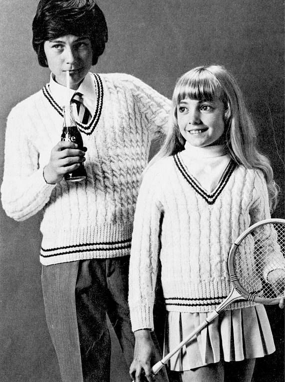 PDF Vintage Girl Knitting Pattern ARAN Cricket Golf Ski Sports