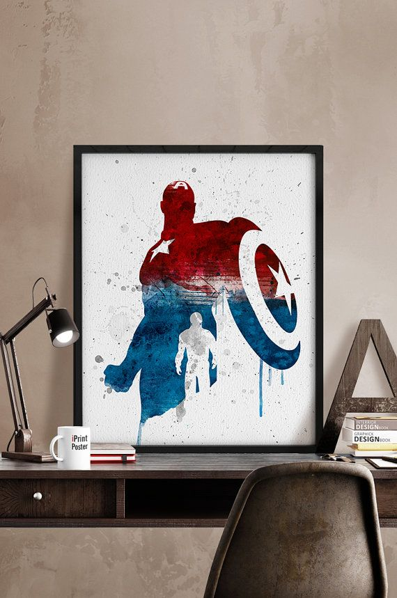 Watercolor Captain America, Print, Watercolor, Superhero poster, Marvel, Heroes prints, Watercolor, Artwork, Comic poster, Gift, Home Decor