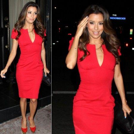 Eva Longoria Red V Neck Dress