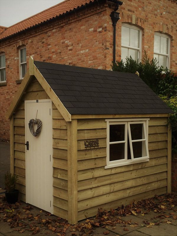 Posh Sheds Cosy Sheds Traditional Sheds Stunning luxury ply lined garden sheds. Vertically clad with a traditional steep pitched roof
