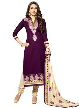 Karisma Kapoor Purple Straight Suit