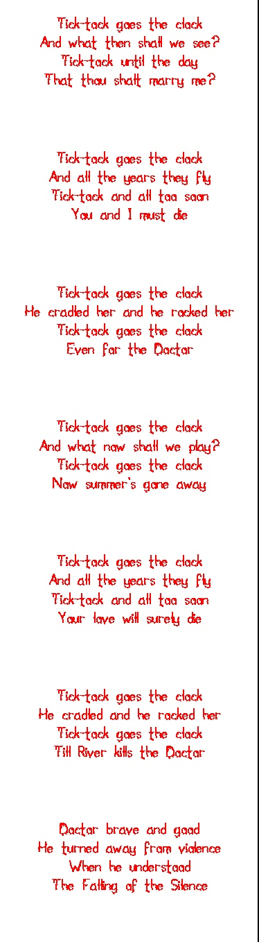 Doctor Who Creepy Tick Tock Poem> It's not that creepy, more like… i don't know, but if you want creepy then I'll give you a fucking weeping angel