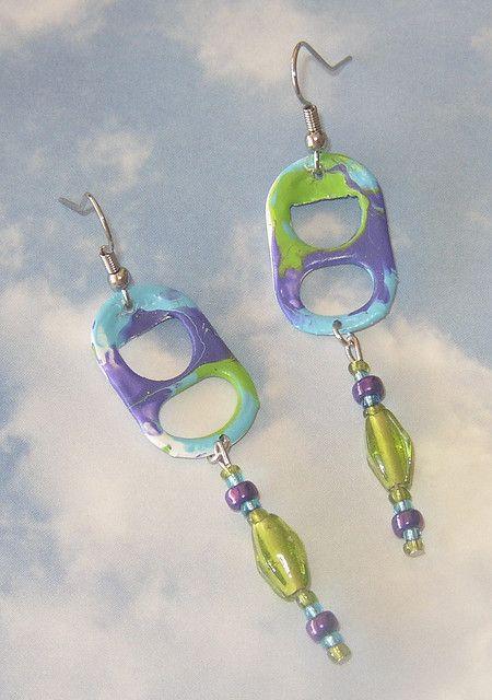 Purple/Turquoise/Kiwi Pop Tab Earrings by Cheryl's Art Box, via Flickr