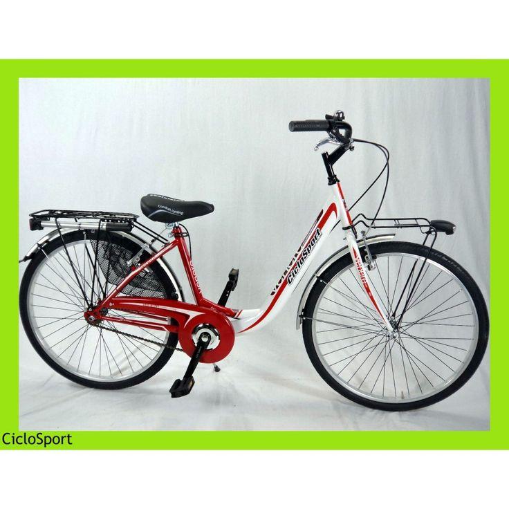 Bicicletta donna Venere 26 CicloSport Bianco-Rossa