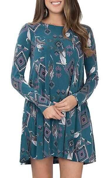 Peach Love Women's Teal Feather Print Dress | Cavender's